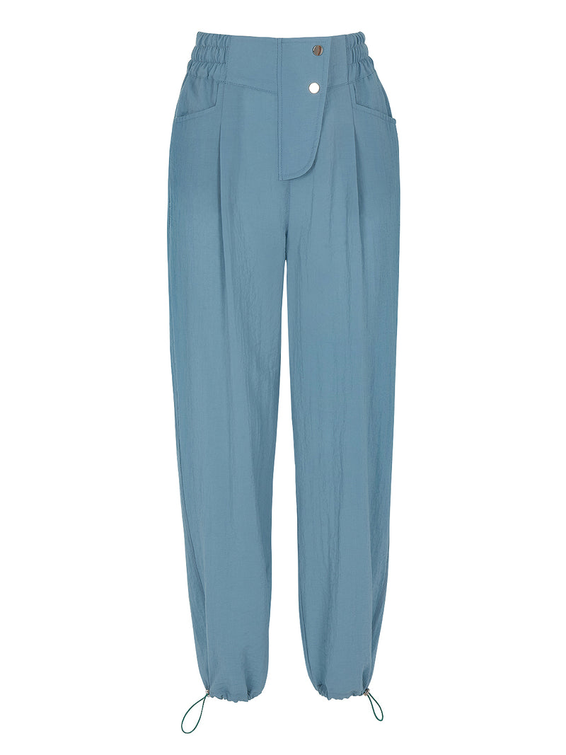 Blue Pleated Jogging Pants