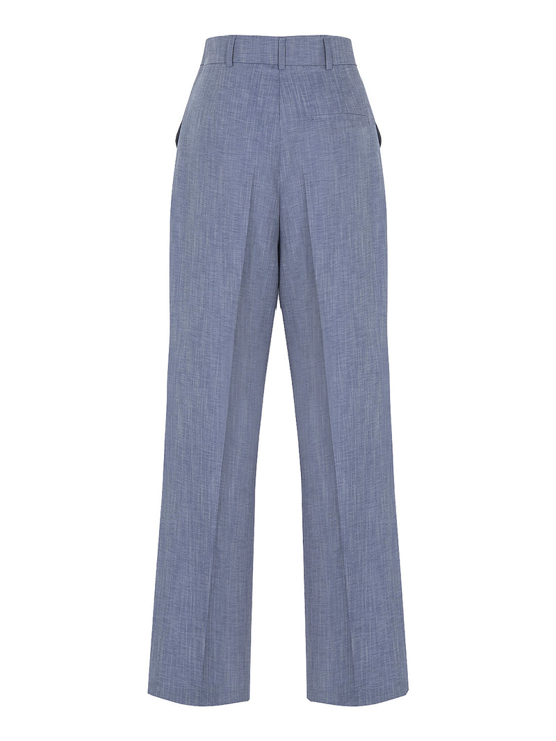 Blue Wide Pants with Darts