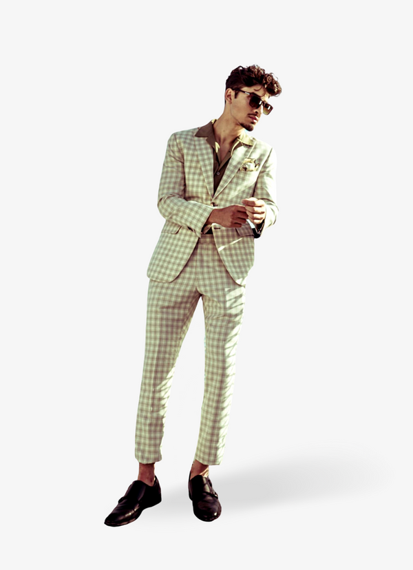Beige Check Summer Suit