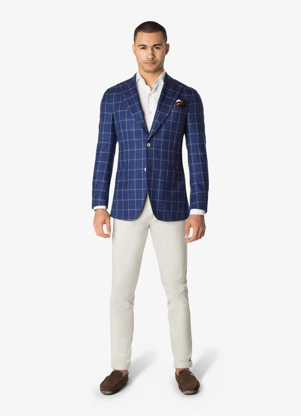 Blue Wool Silk Linen Windowpane