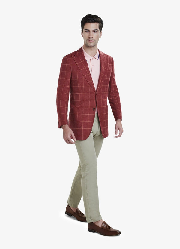 Red Wool Silk Linen Windowpane