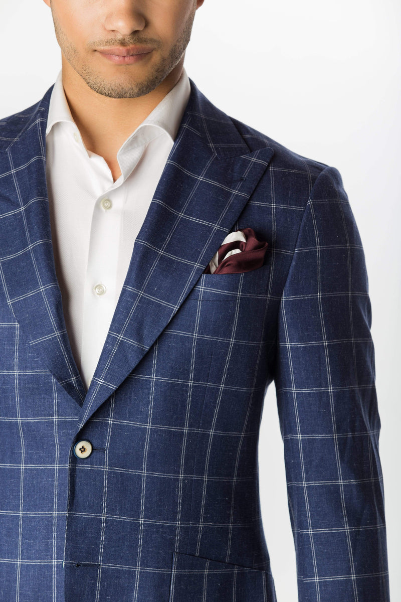 Blue Wool Silk Linen Windowpane - Rental
