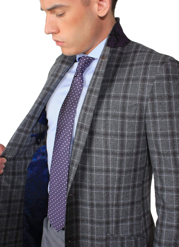 Grey Check Overcoat - Rental