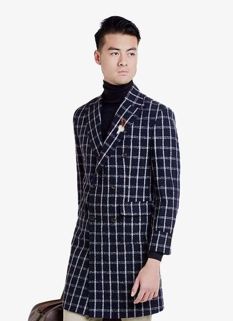 Navy Windowpane Coat