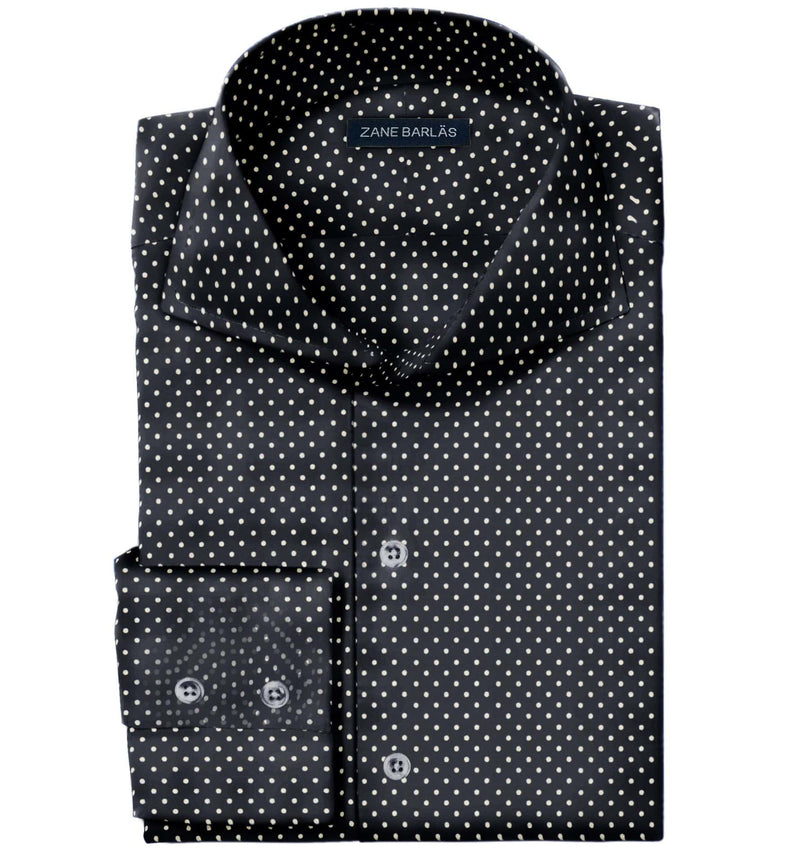 NAVY POLKA EGYPTIAN COTTON SHIRT