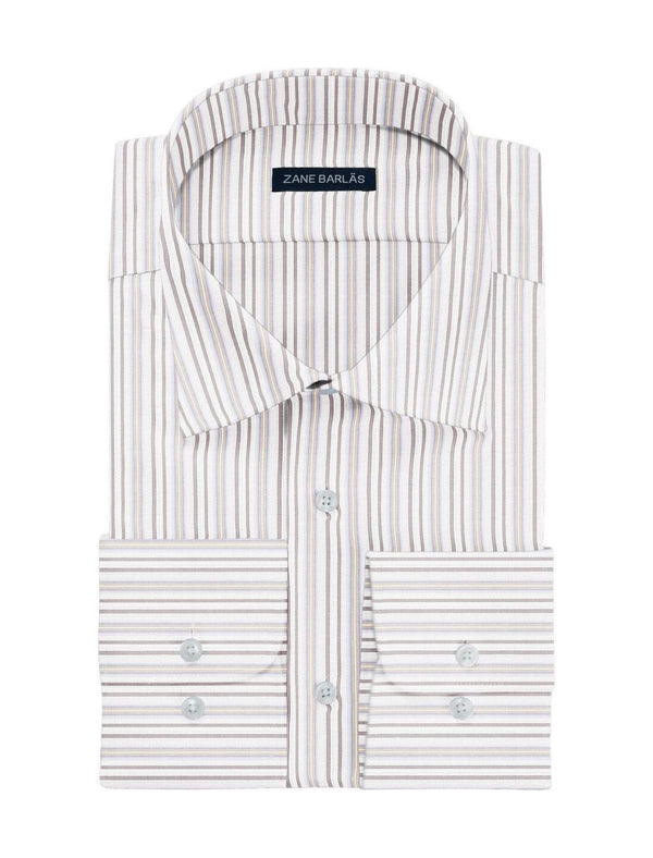 WHITE-ON-BROWN STRIPE SHIRT