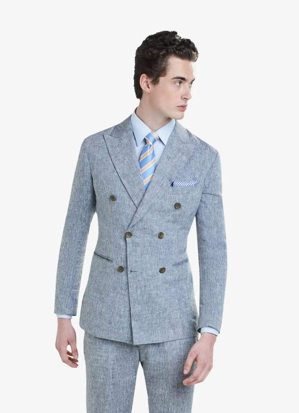 Grey Double Breasted Linen Suit