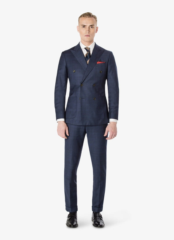 Navy Windowpane Double Breasted Suit