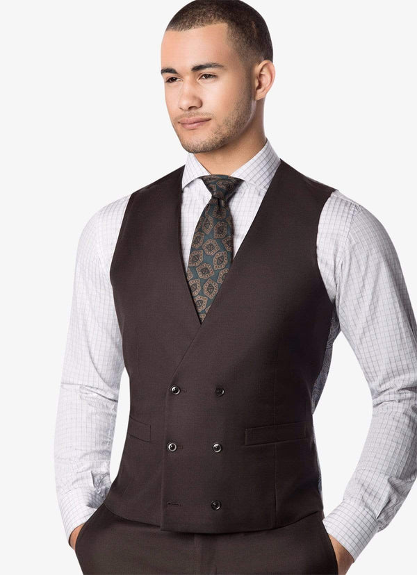 Brown Double Breasted Waistcoat