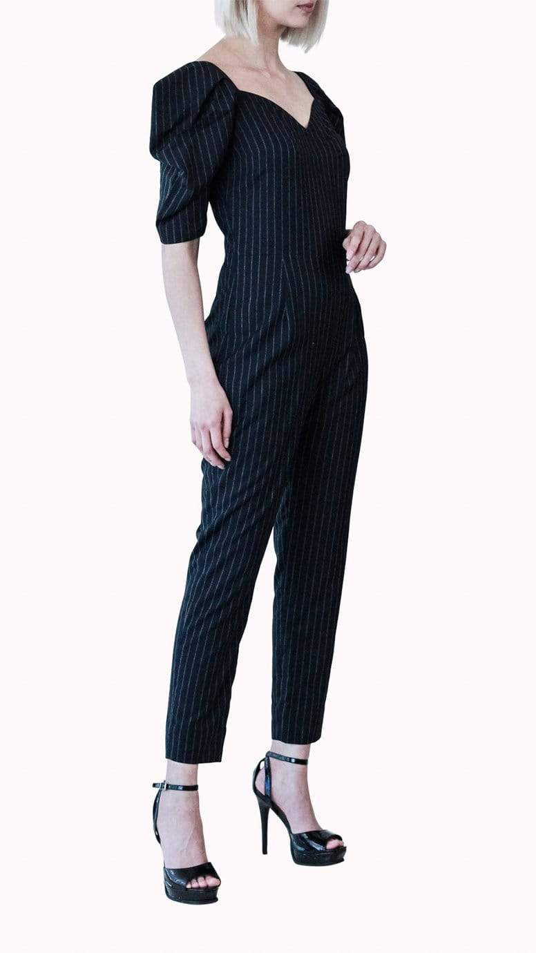 Black Pleated Shoulder Jumpsuit