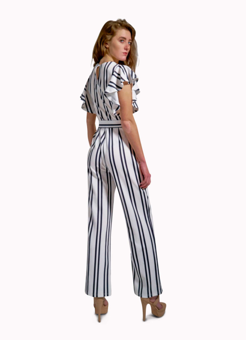 Zane Barläs Women Outlet Jumpsuits Outlet White Stripes Jumpsuit Custom Suits for Men and Women