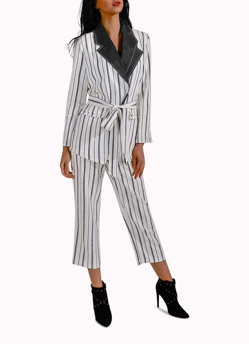 Black and White Stripes Suit