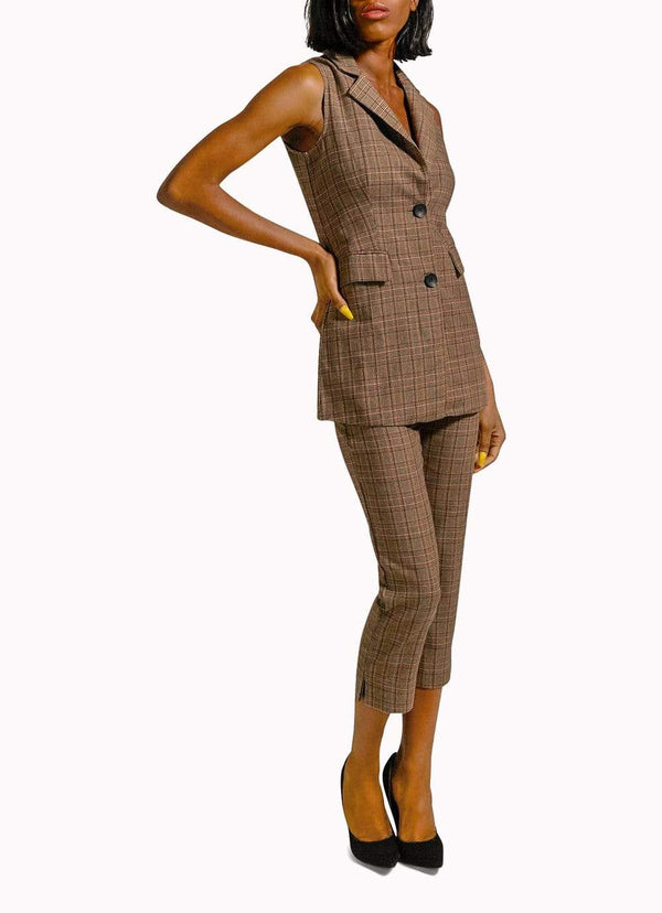Brown Plaid Sleeveless Suit
