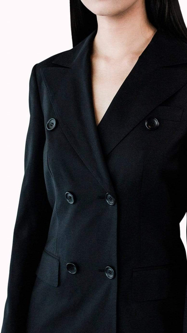 Black Silk Tuxedo Dress