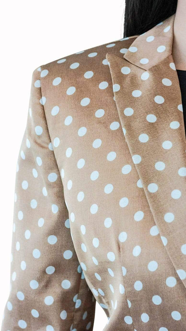 Gold Silk Polka Dot Suit