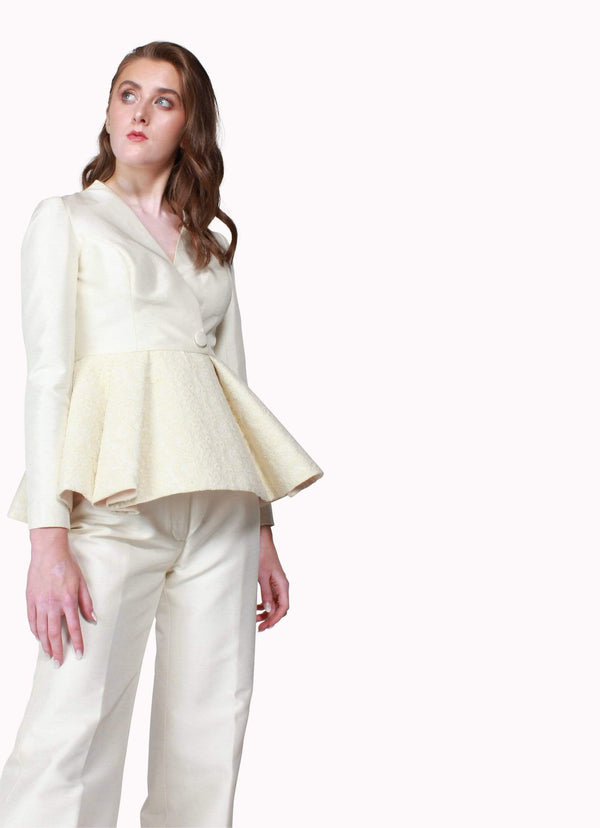 White Peplum Suit