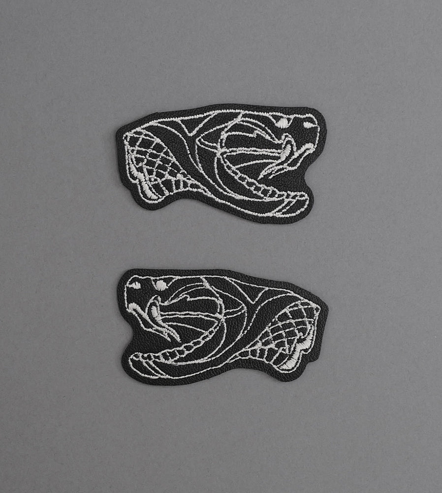 Snake Heads Blk Leather Patch