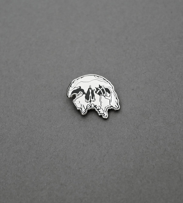 Crushed Skull Pin - Silver