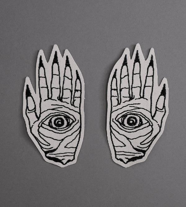 Death Hands Set Canvas Patches - Cream