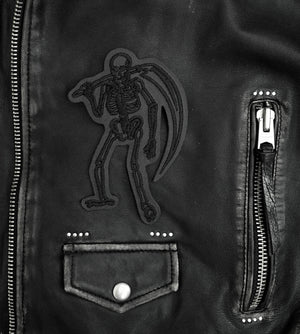 Load image into Gallery viewer, Skeleton Reaper Leather Patch - Blacked Out