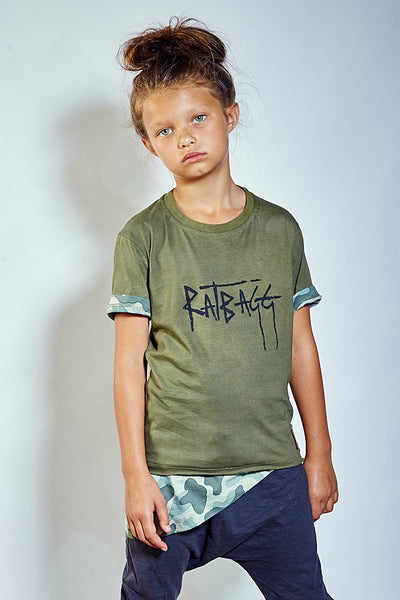 Kids Layered Signature Tee - Camo
