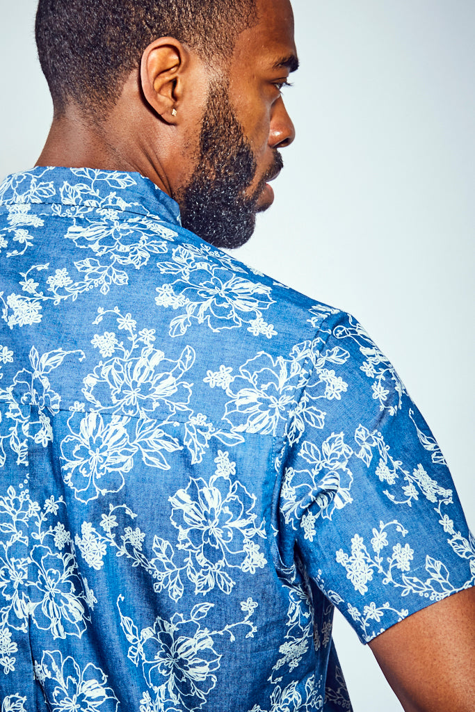 Rose Shirt - Blue