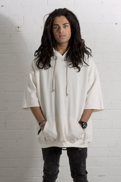 3/4 Hooded Jumper - Off White