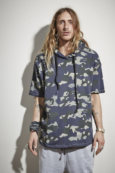 Combat Short Sleeve Hooded Jumper - Camo