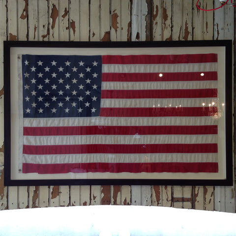Framed vintage and antique flags