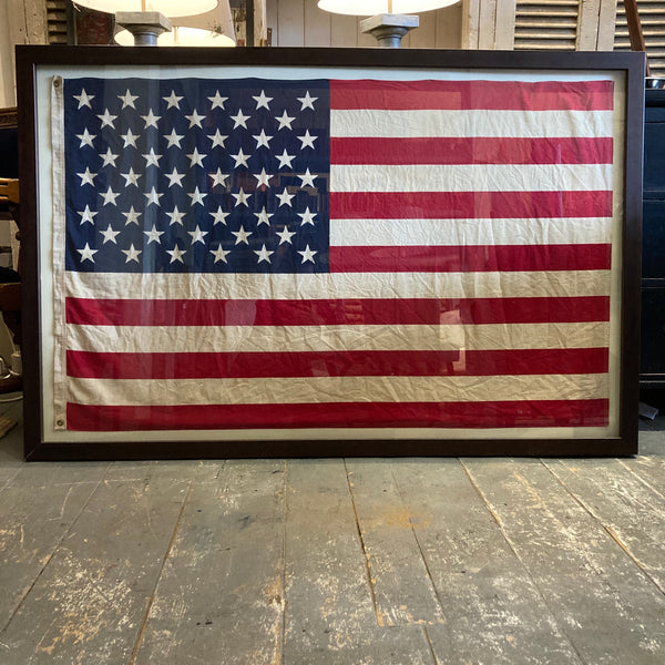 Vintage American flag / Box framed Cotton flag / Framed in period moulding /