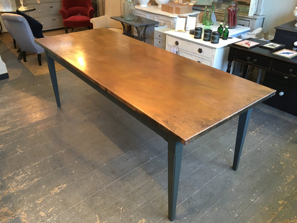 Bespoke Copper top tables - Solid natural copper - Strengthened frame - With tapered legs.