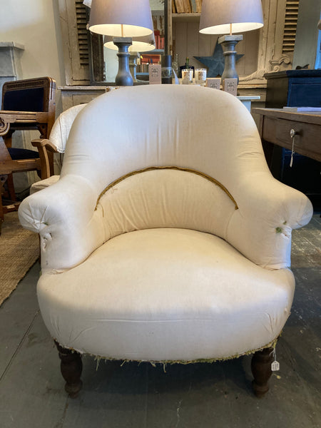 📌SOLD📌Chair - French antique Armchair  - Covered in rustic fine linen - C1900