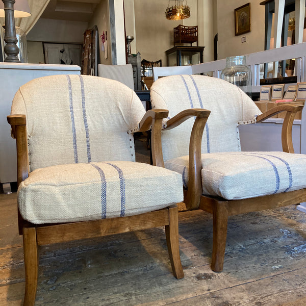 Chair 📌SOLD📌Pair of midC20 armchairs - upholstered in french hessian