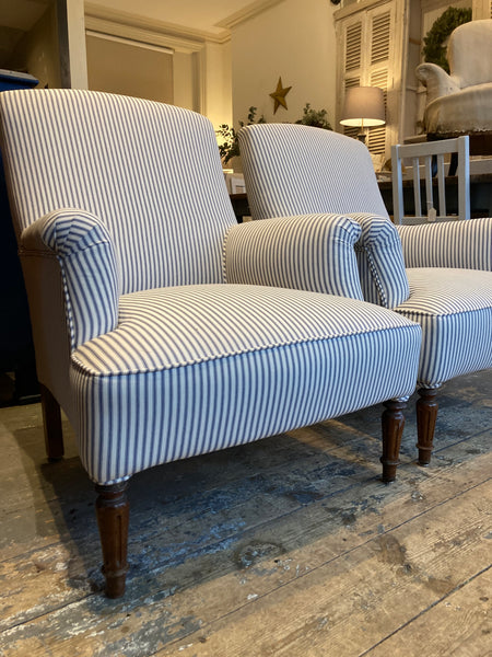 Pair Antique armchairs -  Napoleon III - Re-webbing- Re upholstery.