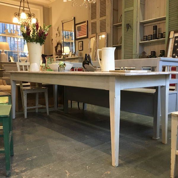 Made to measure - French style dining table - line wash  - top made from vintage pottery boards