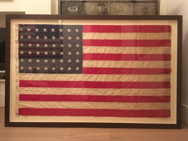 Sold SOLD SOLD Box Framed, Antique Linen US Flag - Frame in 1940-1950's vintage moulding - 48 star dated pre 1912
