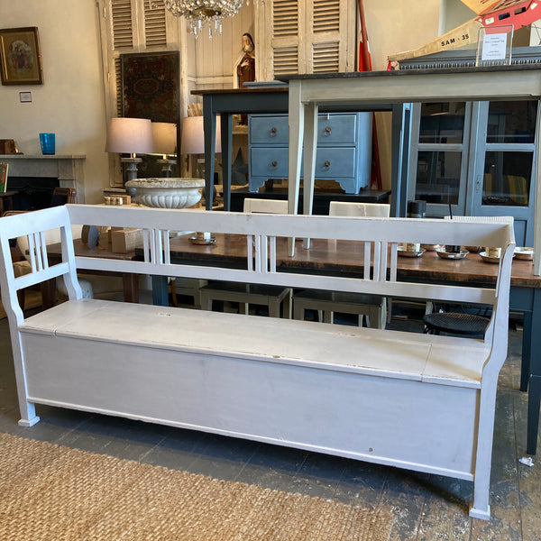 Large Antique Bench - Northern European C1890 - Storage under seat - Perfect for Dining table and or General storage and seating