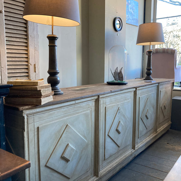 Antique Sideboard/Shop counter - Swedish - Front panelled - 3 banks of drawers and 2 sections of shelving