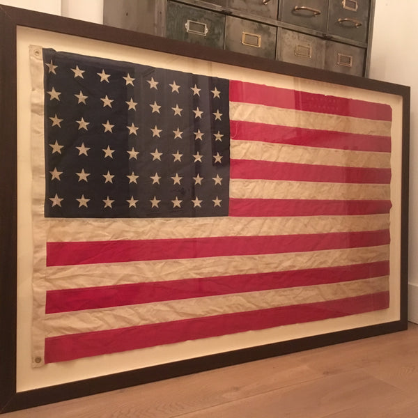 📌SOLD📌 Box Framed, Antique Linen Flag-Frame 1950's -48 star dated pre 1912