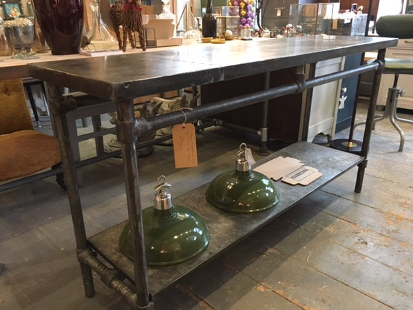 Zinc top table two tier / made to measure Any Size /industrial galvanised frame / inside outside / great storage space / made in England