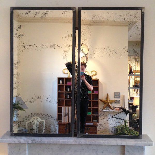 Steel Frame mirrors- One-off pieces - Old black stained glass - midC20