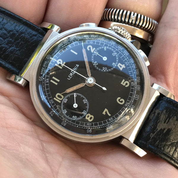 Lemania - Chronograph from the end of 30's crab-lugs
