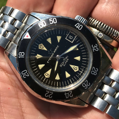 Eterna - Rare untouched Super Kontiki Ref.130 FTP in original Gay Freres bracelet - ON HOLD