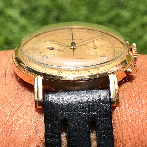 Movado - 1950's 18kt PG M90 oversize Chronograph stepped lugs