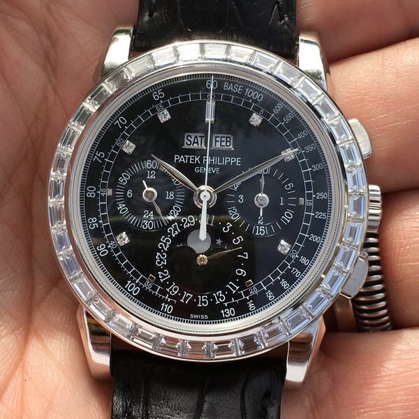 Patek Philippe - Platinum 5971 Grand Complication Black Dial Baguette Diamonds Bezel Full set