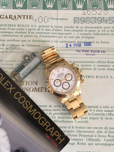 Rolex - Daytona Ref. 16528 with rare porcelain dial 1990 Full Set
