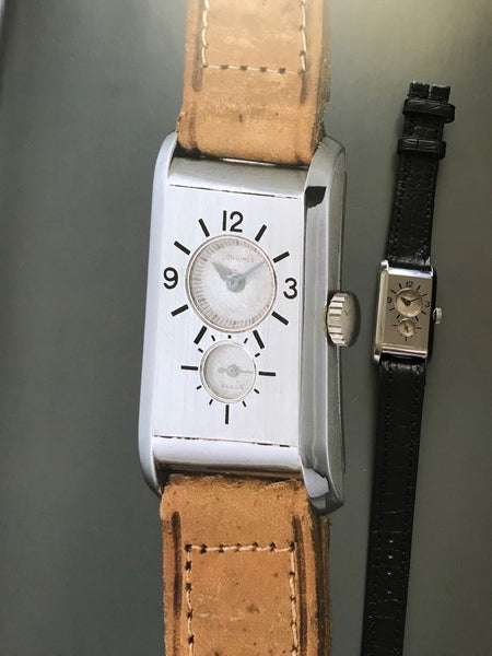 Longines - Super Solo Duo Dial oblong doctor's watch 1930's