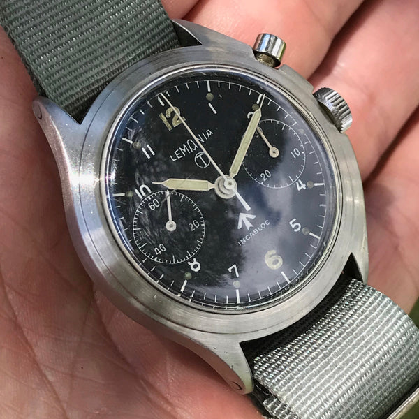 Lemania - 6BB Royal Airforce asymmetrical military chronograph monopusher