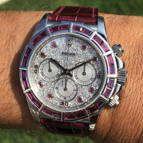 Rolex - Daytona Zenith 1997 Ref. 16589 RUBY pavè dial only 5 examples known in the world