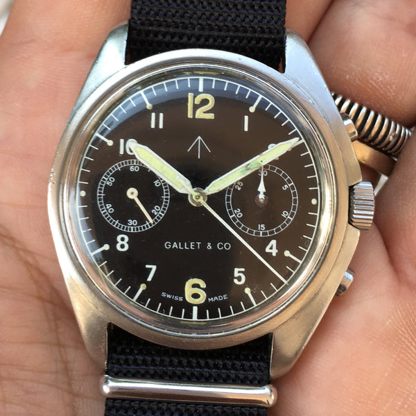 Gallet & co - Super rare asymmetric series III chronograph RAF issued Valjoux 7733